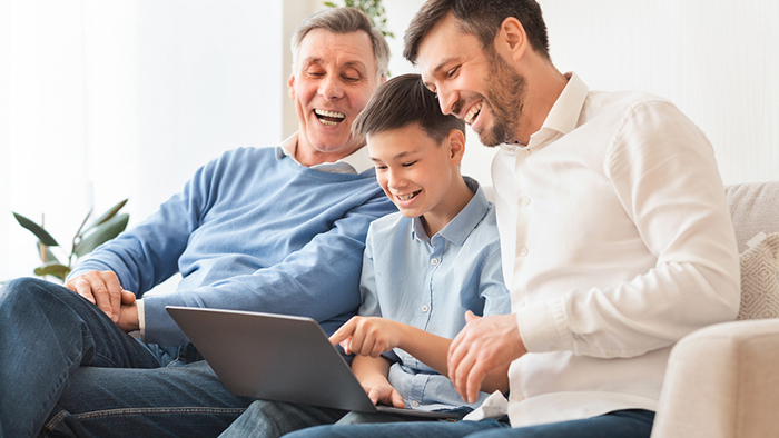 Grandpa, Dad and Son on Computer